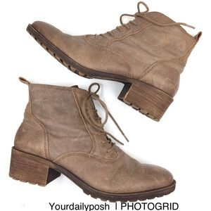 Lucky Brand taupe brown leather lace-up boots 9.5